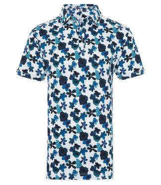 R2 Amsterdam polo wit met donkerblauw kobaltblauw aqua blauw bloemen print