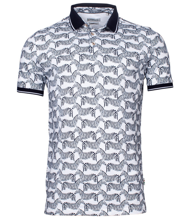 Giordano Tailored polo wit met donkerblauw zeebra print