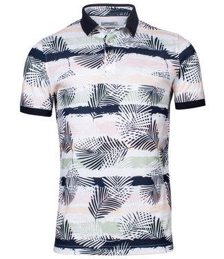 Giordano Tailored polo wit roze groen blaadjes print