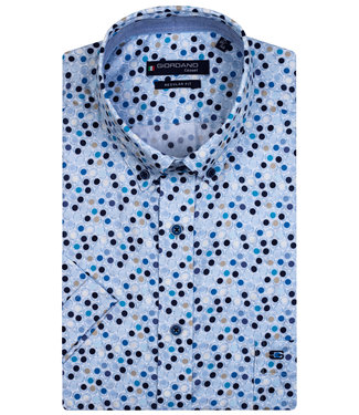 Giordano Regular Fit overhemd korte mouw donkerblauw wit aqua blauw bruin rondjes print
