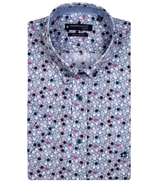 Giordano Regular Fit overhemd korte mouw donkerblauw wit roze grijs rondjes print