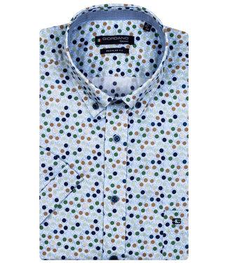Giordano Regular Fit overhemd korte mouw donkerblauw bruin groen mintgroen rondjes print