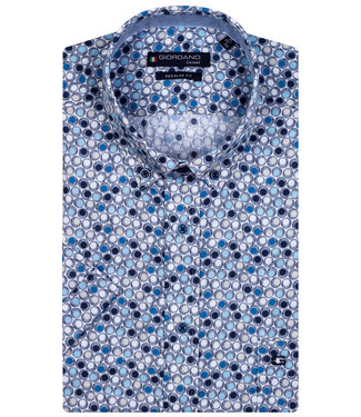 Giordano Regular Fit overhemd korte mouw donkerblauw lichtblauw kobaltblauw rondjes print
