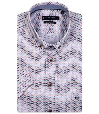 Giordano Regular Fit overhemd korte mouw roze-donkerblauw-lichtblauw vissen print