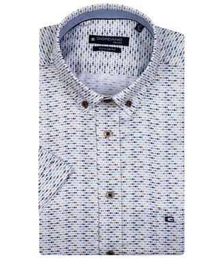 Giordano Regular Fit overhemd korte mouw wit donkerblauw-lichtblauw-beige-groen vissen print
