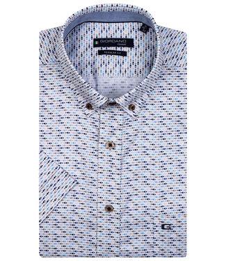 Giordano Regular Fit overhemd korte mouw wit met donkerblauw-lichtblauw-beige vissen print