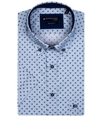 Giordano Regular Fit overhemd korte mouw lichtblauw donkerblauw print