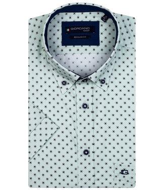 Giordano Regular Fit overhemd korte mouw groen zwart print