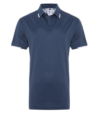R2 Amsterdam polo donkerblauw met witte details