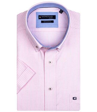Giordano Regular Fit overhemd korte mouw roze-wit oxford streepje