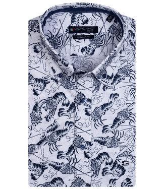 Giordano Regular Fit overhemd korte mouw wit donkerblauw kreeften print