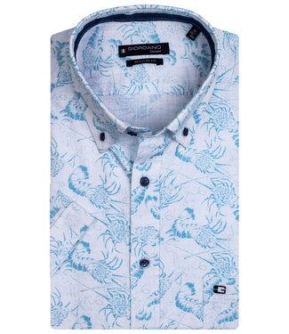 Giordano Regular Fit overhemd korte mouw wit aqua blauw kreeften print