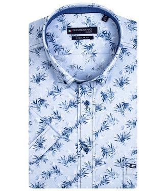 Giordano Regular Fit overhemd korte mouw lichtblauw donkerblauw wit blaadjes print