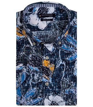 Giordano Regular Fit overhemd korte mouw donkerblauw met kobaltblauw okergeel bloemen print