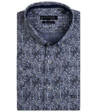 Giordano Regular Fit overhemd korte mouw blauw wit donkerblauw bloemen print