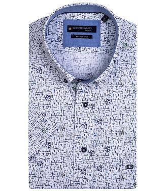 Giordano Regular Fit overhemd korte mouw wit groen donkerblauw bloemen print