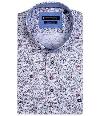 Giordano Regular Fit overhemd korte mouw wit rood met donkerblauw bloemen print