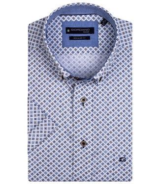 Giordano Regular Fit overhemd korte mouw wit groen blauw donkerblauw grafische print