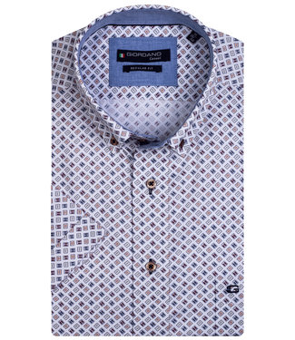 Giordano Regular Fit overhemd korte mouw wit brique bordeaux rood donkerblauw grafische print