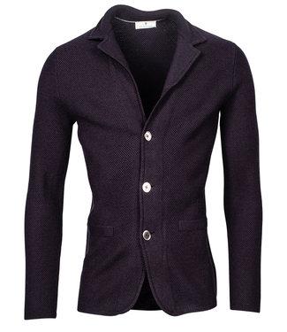 Thomas Maine heren vest jasje donkerblauw 14gg structure knit
