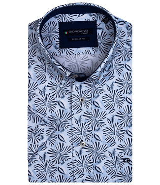 Giordano Regular Fit lichtblauw met donkerblauw bloemen print