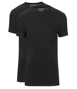 Slater T-shirts zwart t-shirts 2-pack ronde hals basic fit
