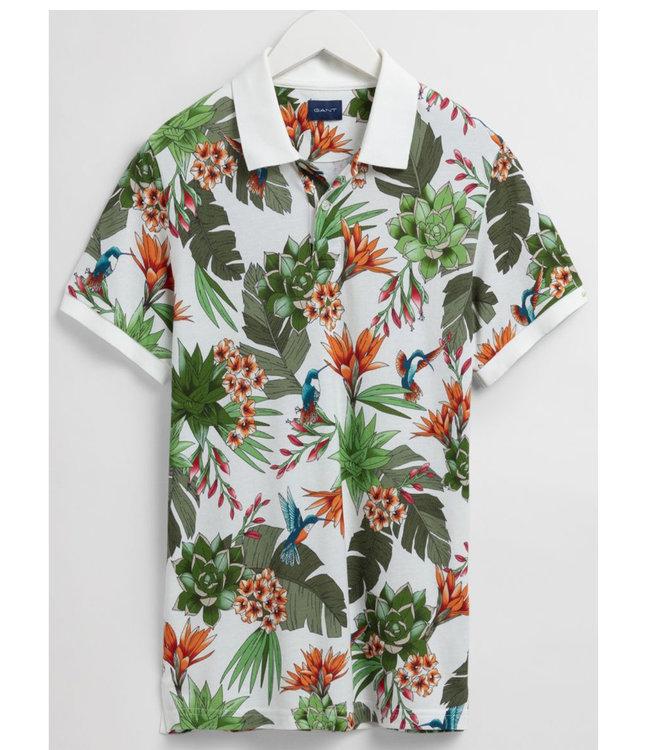 Gant heren polo groen oranje planten vogel print