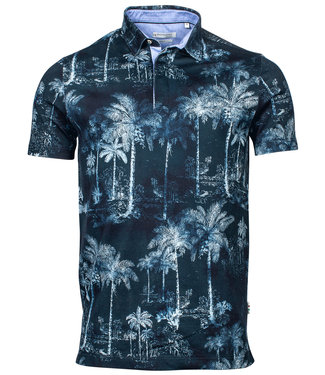 Giordano Tailored polo donkerblauw wit aqua blauw bloemenprint