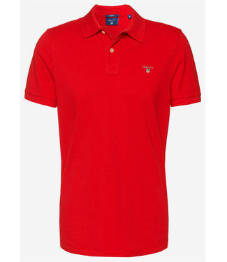 Gant rood heren polo korte mouw regular fit
