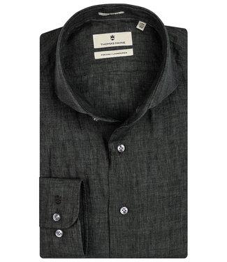 Thomas Maine overhemd donkergroen linnen