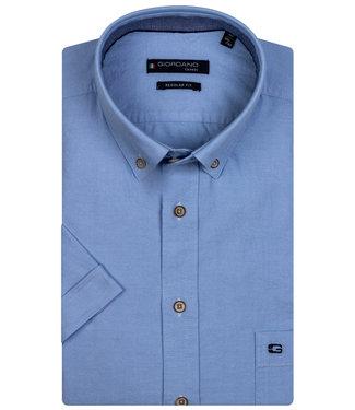 Giordano Regular Fit korte mouw overhemd lichtblauw oxford