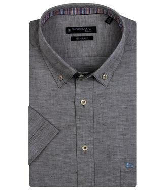 Giordano Regular Fit korte mouw donker groen oxford overhemd