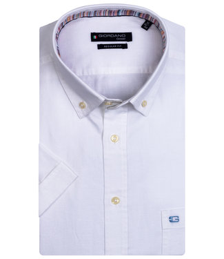 Giordano Regular Fit korte mouw wit oxford overhemd