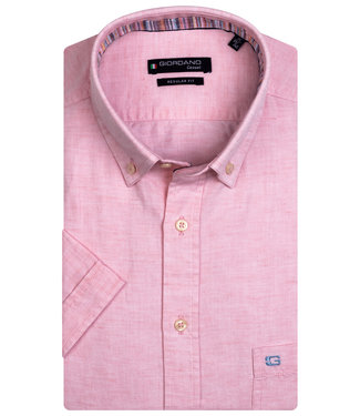 Giordano Regular Fit korte mouw roze oxford overhemd