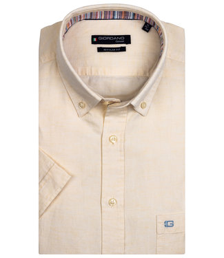 Giordano Regular Fit korte mouw licht geel oxford overhemd