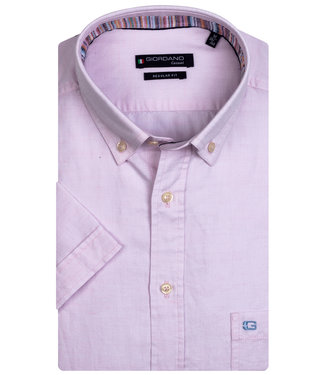 Giordano Regular Fit korte mouw licht roze oxford overhemd