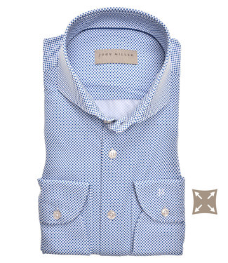 John Miller wit blauw print hyperstretch tailored fit