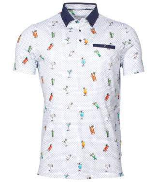 Giordano Tailored polo wit blauw met tutti colori cocktail print