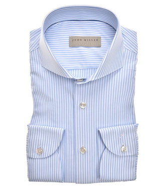 John Miller overhemd slim fit lichtblauw-wit streepje