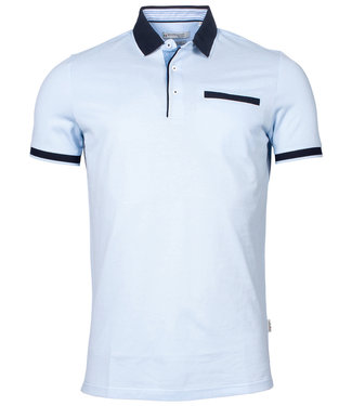 Giordano Tailored polo lichtblauw donkerblauw boord en mouw