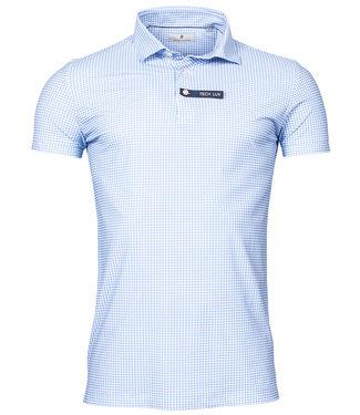 Thomas Maine golf polo blauw wit pied-de-poule techno stretch canclini