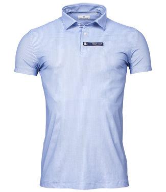 Thomas Maine golf polo blauw lichtblauw wit print techno stretch canclini
