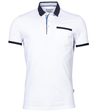 Giordano Tailored polo wit donkerblauw boord en mouw