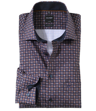 Olymp overhemd bruin donkerblauw rondjes print