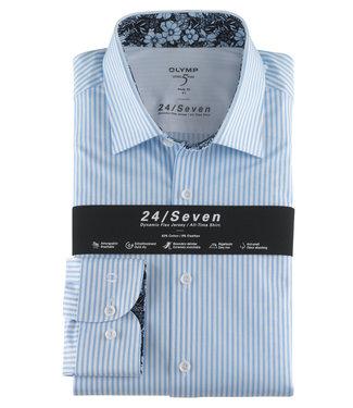 Olymp overhemd lichtblauw-wit streepje