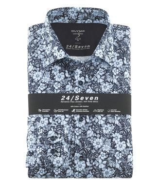 Olymp overhemd donkerblauw lichtblauw bloemenprint