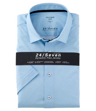 Olymp korte mouw overhemd lichtblauw print