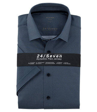 Olymp korte mouw overhemd donkerblauw print