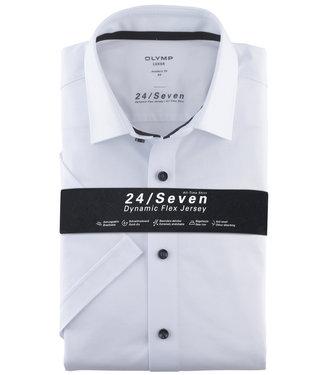 Olymp korte mouw overhemd wit stretch