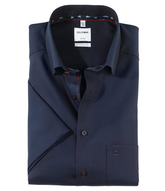 Olymp korte mouw overhemd donkerblauw donkerblauwe knopen